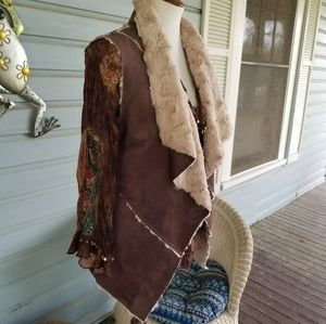 BoHo faux suede/fur sleeveless jacket M, w/pockets